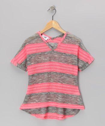 Heather Gray & Pink V-Neck Tee - Girls