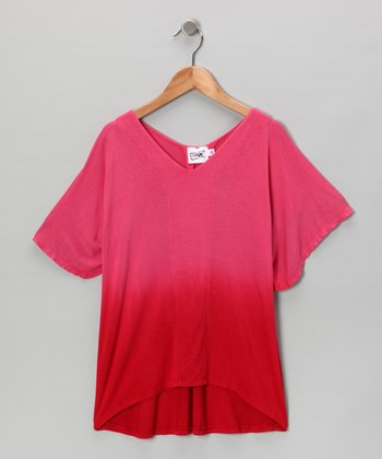 Red & Pink Fade Superhero Top - Girls