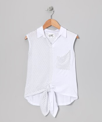 White Polka Dot Tie Top - Girls