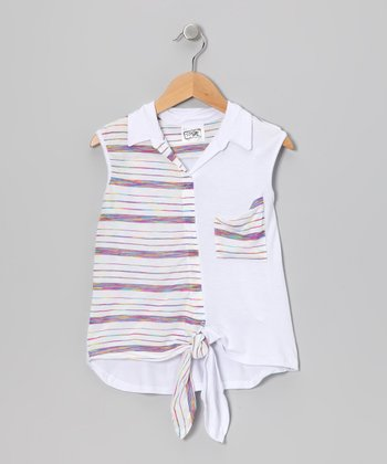 White Rainbow Stripe Tie Top - Girls
