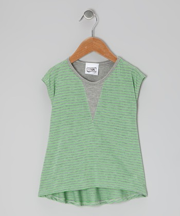 Lime & Gray Alcatraz Stripe Tee - Toddler & Girls