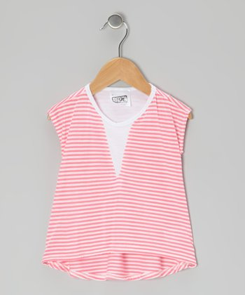 Pink & White Alcatraz Stripe Tee - Toddler & Girls