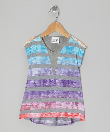 Gray & Purple Sun's Ray Stripe Tee - Girls