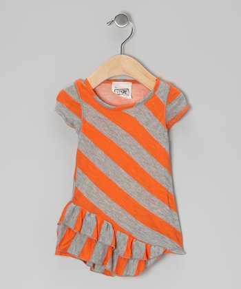 Orange & Gray Stripe Ruffle Tunic - Infant, Toddler & Girls