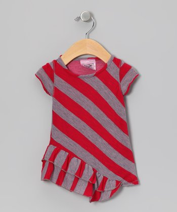Pink & Gray Stripe Ruffle Tunic - Girls