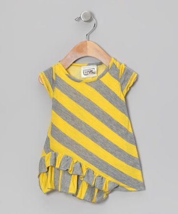 Yellow & Gray Stripe Ruffle Tunic - Toddler & Girls