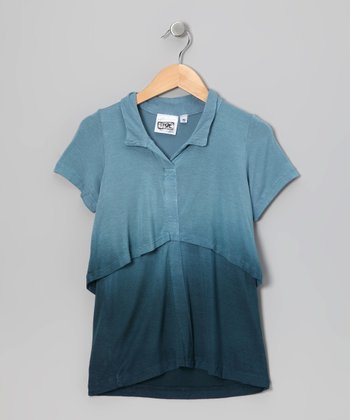 Blue Dip-Dye Layered Top - Girls