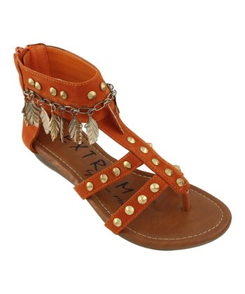 Orange Leaf Charm Ankle-Strap Sandal