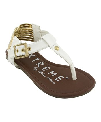 White Metallic Thong Sandal