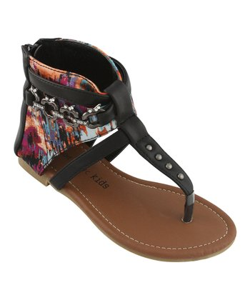 Black Apple Charm Thong Sandal