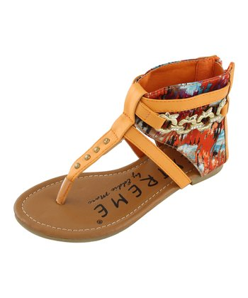 Orange Apple Charm Thong Sandal