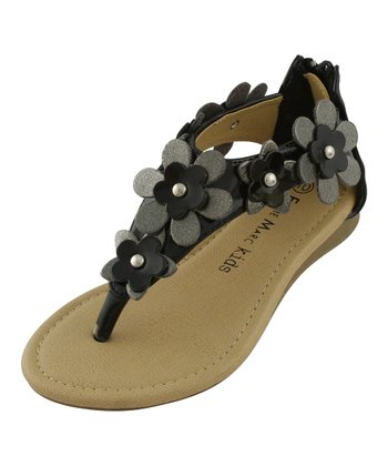 Black Flower Strap Thong Sandal