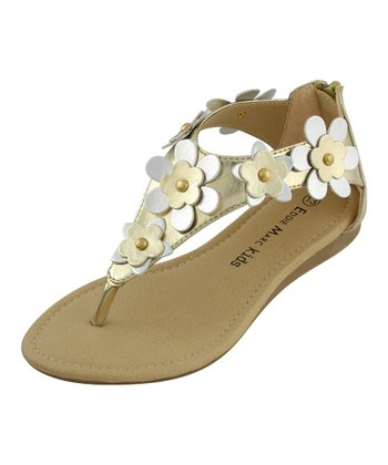 Gold Flower Strap Thong Sandal