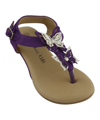 Purple Butterfly Ankle-Strap Thong Sandal