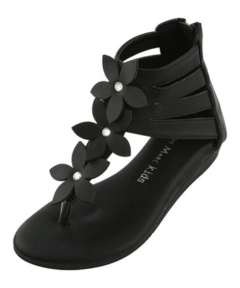 Black Strappy Flower Thong Sandal