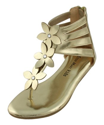 Gold Strappy Flower Thong Sandal