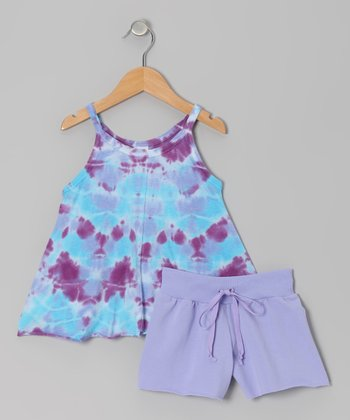 Lavender Tie-Dye Judi Tunic & Shorts - Girls