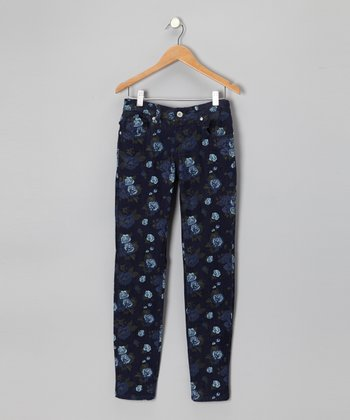 Navy Floral Skinny Jeans - Girls