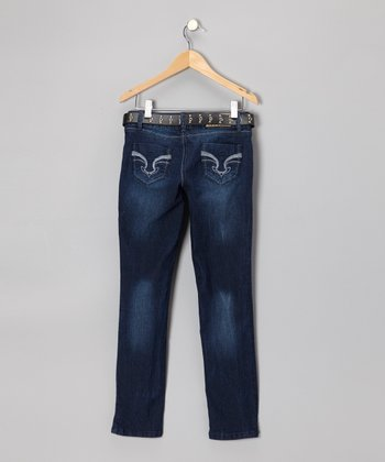 Dark Wash Embroidered Skinny Jeans & Belt - Girls