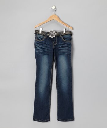 Medium Wash Floral Skinny Jeans & Belt