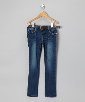 Dark Wash Star Skinny Jeans & Belt - Girls