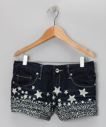 Dark Wash Star Shorts - Girls