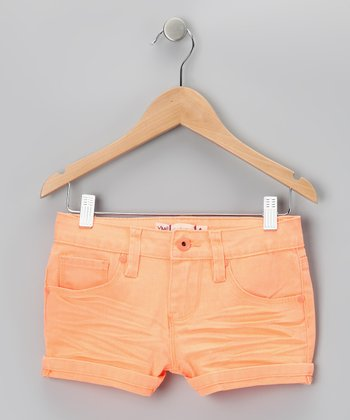 Orange Neon Rivet Shorts