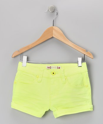 Yellow Neon Rivet Shorts