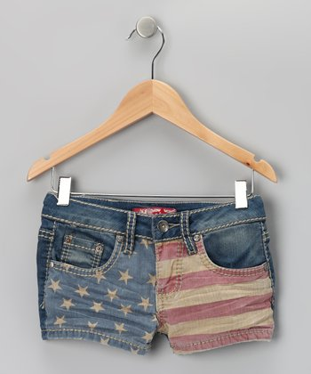 Light Wash American Flag Shorts