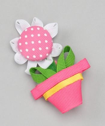 Pink Flower Pot Clip