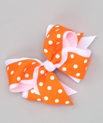 Neon Orange Polka Dot Bow Clip