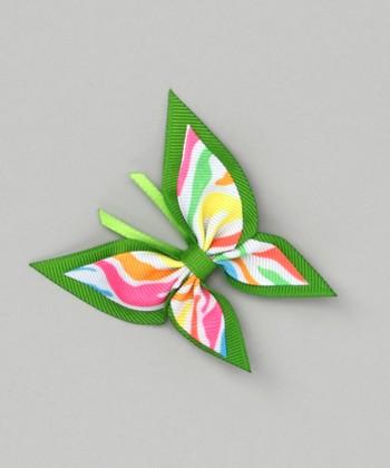 Neon Zebra Butterfly Clip