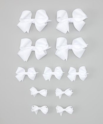 White Bow & Bow-Holder Set