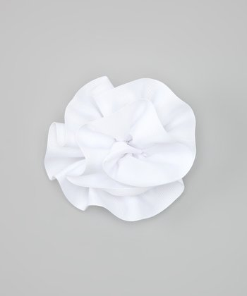 White Ribbon Flower Clip