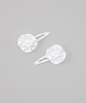 White Pearl Rose Clip - Set of Two
