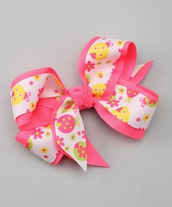 Neon Pink Ladybug Bow Clip