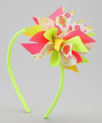Neon Yellow Ladybug Surprise Bow Headband