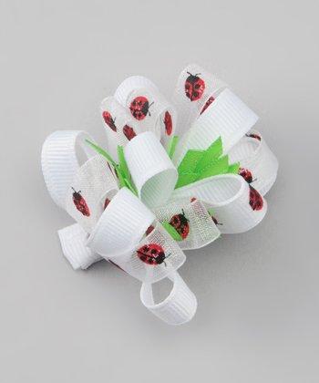 White Ladybug Loop Clip