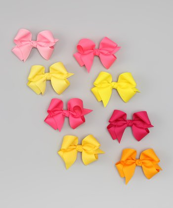 Citrus Small Bow Clip & Holder Set