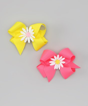 Pink & Yellow Daisy Bow Clip Set
