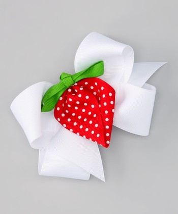 White Bow & Red Strawberry Clip Set