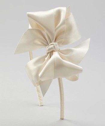 Ivory Satin Bow Headband