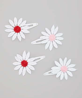 Pink & Red Daisy Bow Snap Clip Set