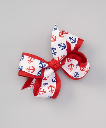 Red Anchor Bow Clip