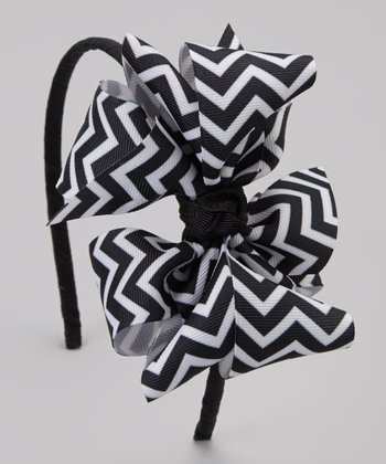 Black Zigzag Bow Headband