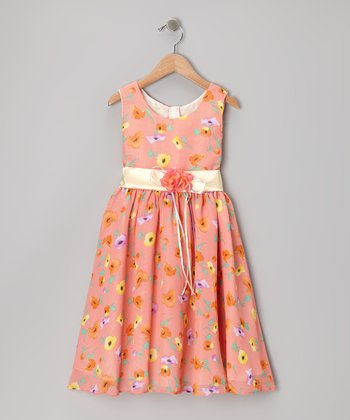 Coral Floral Chiffon Dress - Toddler & Girls