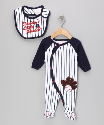 White & Navy Stripe 'Daddy's Little Rookie' Footie & Bib