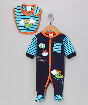 Blue & Orange 'Up, Up and Away!' Footie & Bib