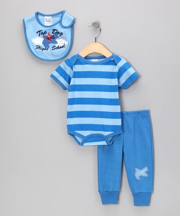 Blue Stripe 'Top Dog Flight School' Bodysuit Set