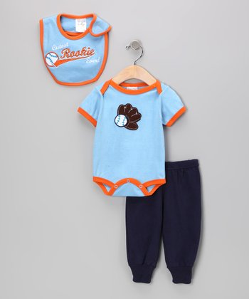Blue & Orange 'Cutest Rookie Ever!' Bodysuit Set